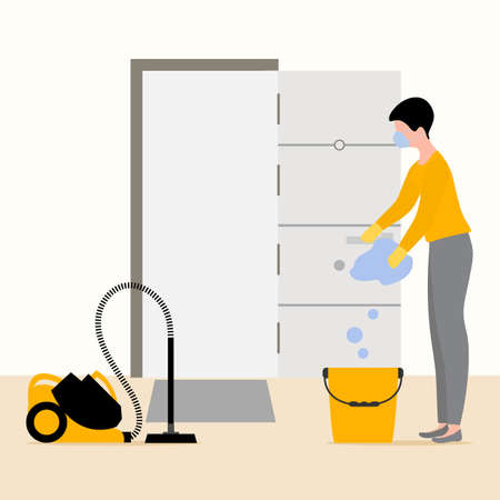 Vector illustration Cleaning service disinfects hotel room from coronavirus, germs. Woman cleans room. Disinfection Washing.