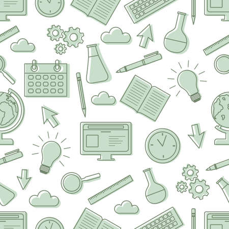 Vector education seamless pattern Illustration. Learning concept. School supplies. Back to school shopping.
