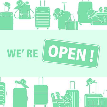 Sign We're open Restart business in normal operation after virus lockdown.