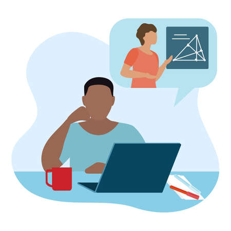Vector illustration Distance education. Distance learning. Online education. Studying at home. Children studying remotely. E-learning concept. New normal. School background Design for web page, print Stock Illustratie
