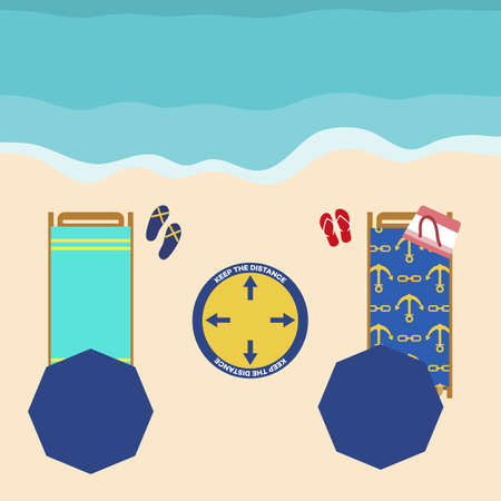 Vector illustration Opening up beaches after COVID-19 quarantine, coronavirus pandemic. Umbrellas, places to relax at distance Social distancing. Summer Reducing risk of infection, prevention measures