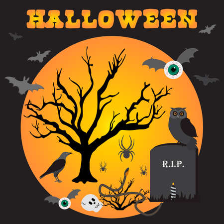 Halloween Party Vector illustration Full moon, bat, tree, owl, grave, candle, raven, skull, snake, spiders, eyes with bat wings. Inscription Halloween. Festive background. Design for party card, print