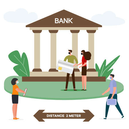 Vector illustration Queue of bank clients in protective masks keeping social distance during epidemic of virus. Social distancing Customers waiting at safe distance New normal. Prevention of infection