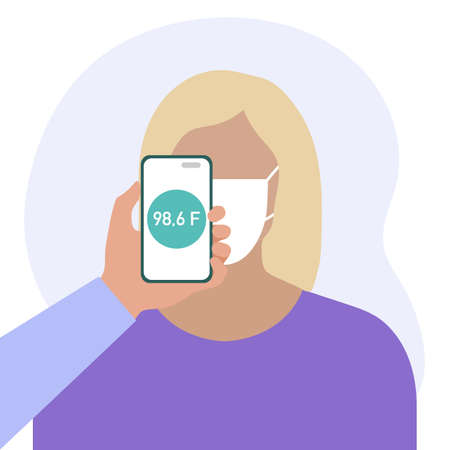 Vector illustration Phone placed on forehead of person remotely measures temperature. New technology. New normal. Measurement of human body temperature at a distance. Health, medicine Design for print Stock Illustratie