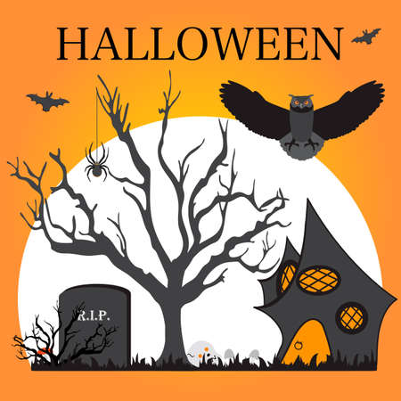 Halloween Party Vector illustration Full moon, bat, tree, owl, creepy house, grave, spider, mushrooms, skull. Inscription Halloween. Festive background. Design for party card, print
