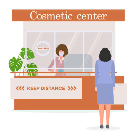 Vector illustration Cosmetic center. Reception room. Receptionist in protective medical mask and gloves behind workplace and customer. New normal. Cosmetology Health care concept Design for web, print Stock Illustratie