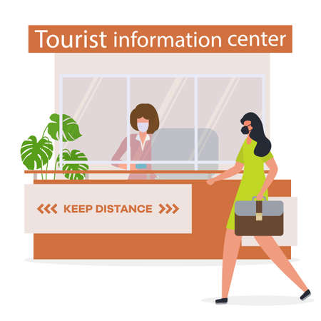 Vector illustration Reopening of Visitor Center after coronavirus Specialist in Tourist Information Center in protective medical mask and gloves provides services to the tourist. COVID free New normal Stock Illustratie