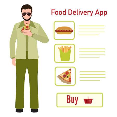 Vector illustration Online food, drink ordering app. Safe delivery. Fast courier service. Take away lunch home delivered. Menu mock up. E-commerce concept. Design for app, webpage, banner, print Stock Illustratie
