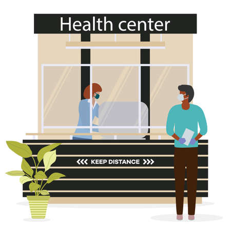 Vector illustration Health center. Reception room at clinic. Receptionist in protective medical mask and gloves behind workplace in clinic and patient. New normal. Healthcare and medicine concept Vetores