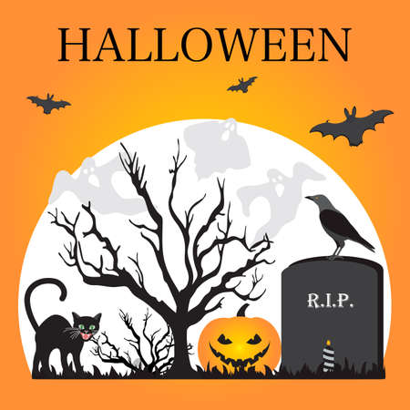 Halloween Party Vector illustration Full moon, bat, tree, cat, grave, candle, raven, Jack O'Lantern, ghosts, mushrooms. Inscription Halloween. Festive background. Design for party card, print