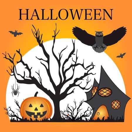 Halloween Party Vector illustration Full moon, bat, tree, owl, creepy house, spider, Jack O'Lantern, skull, mushrooms. Inscription Halloween. Festive background. Design for party card, print