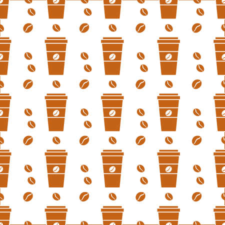 Vector coffee seamless pattern Illustration Repeated background with paper coffee cups. Morning. Take away. Concept for cafe, bistro, bars menu card. Food and drink design for wrapping, textile, print Stock Illustratie