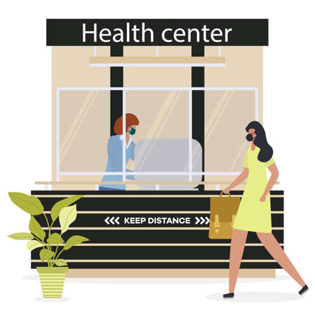 Vector illustration Health center. Reception room at clinic. Receptionist in protective medical mask and gloves behind workplace in clinic and patient. New normal. Healthcare and medicine concept