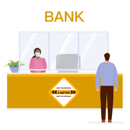 Vector illustration New normal Bank client and bank employee in protective masks keeping social distance. Social distancing. Reducing risk of infection, prevention measures. Design for web page, print
