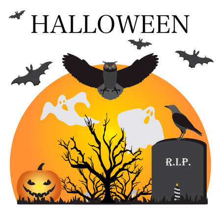 Halloween Party Vector illustration Full moon, bat, tree, owl, grave, candle, raven, Jack O'Lantern, ghosts, mushrooms. Inscription Halloween. Festive background. Design for party card, print
