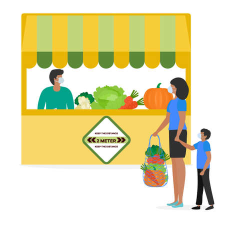 Vector illustration People Social distancing Market Selling vegetables, fruits, berries keep social distance New normal concept and physical distancing New behavior after COVID-19 coronavirus pandemic Çizim
