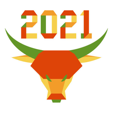 Happy new year Vector illustration with origami 2021 year numbers and bull. Bull annual animal zodiac sign, symbol of 2021 on the Chinese calendar. Year of the ox. Chinese horoscope. Design for print Çizim