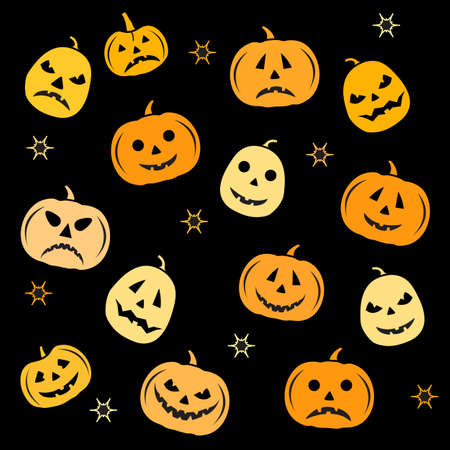 Halloween Party Vector illustration Jack O'Lantern. Cute spooky orange pumpkin with smile. Happy Halloween holiday cartoon character set. Trick or treat festive background Design for party card, print Çizim