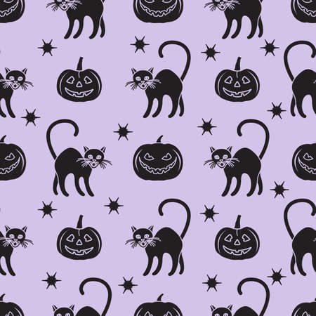 Halloween Party seamless pattern Vector illustration Jack O'Lantern, cat. Spooky pumpkin with smile, cat Happy Halloween Holiday concept Trick or treat festive background. Design for party card, print Çizim
