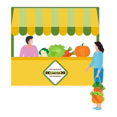 Vector illustration People Social distancing Market Selling vegetables, fruits, berries keep social distance New normal concept and physical distancing New behavior after COVID-19 coronavirus pandemic Ilustrace