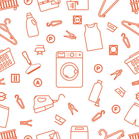 Vector seamless pattern Illustration Dry cleaning, laundry, housekeeping services. Home appliance. Garment washing, launderette. Laundromat service equipment. Restart business in normal operation