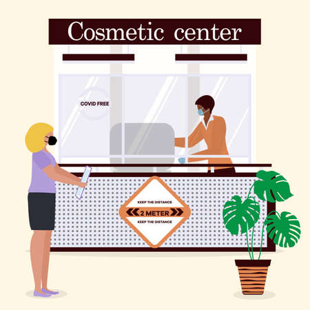 Vector illustration Cosmetic center. Reception room. Receptionist in protective medical mask and gloves behind workplace and customer. New normal. Cosmetology Health care concept Design for web, print Ilustrace