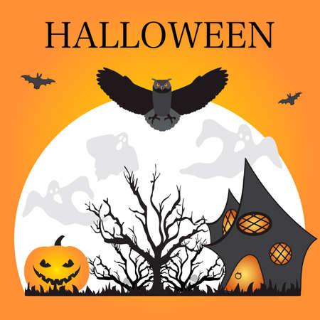 Halloween Party Vector illustration Full moon, bat, tree, owl, creepy house, Jack O'Lantern, ghosts, mushrooms. Inscription Halloween. Festive background. Design for party card, print Çizim
