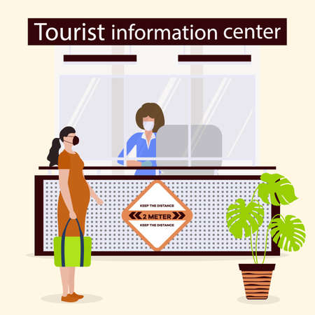 Vector illustration Reopening of Visitor Center after coronavirus Specialist in Tourist Information Center in protective medical mask and gloves provides services to the tourist. COVID free New normal Ilustrace
