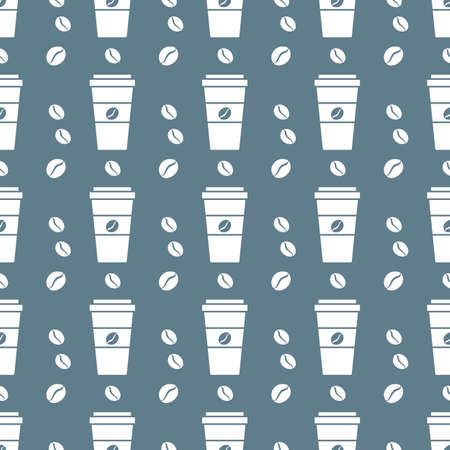Vector coffee seamless pattern Illustration Repeated background with paper coffee cups. Morning. Take away. Concept for cafe, bistro, bars menu card. Food and drink design for wrapping, textile, print Ilustrace