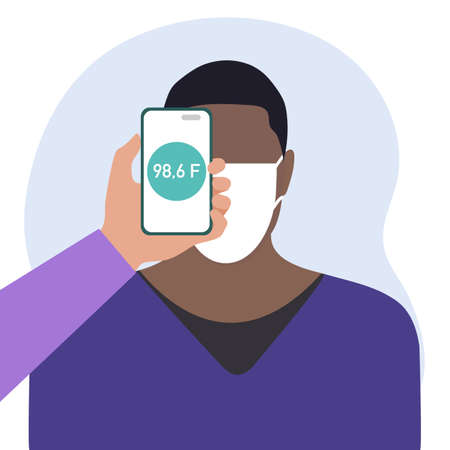 Vector illustration Phone placed on forehead of person remotely measures temperature. New technology. New normal. Measurement of human body temperature at a distance. Health, medicine Design for print Ilustrace