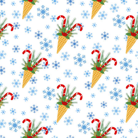 Happy New Year 2021 Merry Christmas seamless pattern Vector illustration with ice cream cone, candy canes, snowflakes, sprig of Christmas trees, mistletoe. Design for packaging paper, fabric or print Ilustrace
