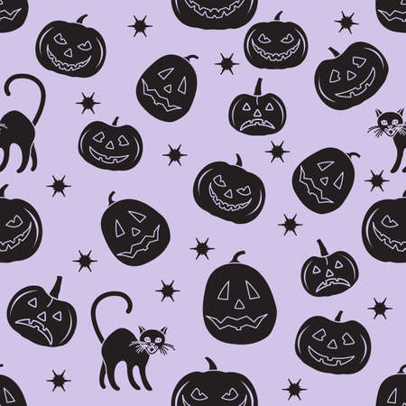 Halloween Party seamless pattern Vector illustration Jack O'Lantern, cat. Spooky pumpkin with smile, cat Happy Halloween Holiday concept Trick or treat festive background. Design for party card, print Ilustrace