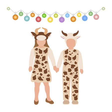 Happy new year 2021, Merry Christmas Vector illustration Children dressed in carnival costumes of bull stand holding hands under garland of lights on white background. Design for postcard, web, print