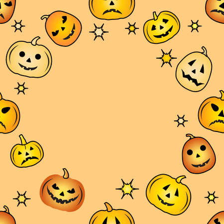 Happy Halloween Party seamless pattern. Vector illustration Jack O'Lantern Spooky orange pumpkin with smile. Holiday cartoon character se. Trick or treat festive background. Empty space for text