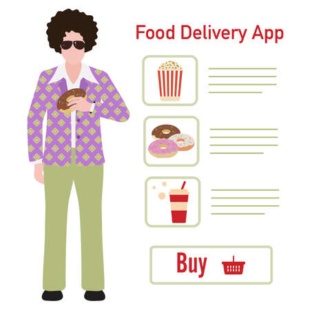 Vector illustration Online food, drink ordering app. Safe delivery. Fast courier service. Take away lunch home delivered. Menu mock up. E-commerce concept. Design for app, webpage, banner, print Ilustrace
