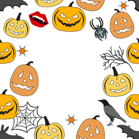 Happy Halloween Holiday Party seamless pattern Vector illustration Jack O'Lantern Spooky pumpkin, bat, spider, spider web, vampire mouth, raven. Empty space for text. Trick or treat festive background