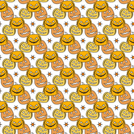 Halloween Party seamless pattern Vector illustration Jack O'Lantern. Spooky orange pumpkin with smile. Happy Halloween holiday cartoon character set. Trick or treat festive background Design for print