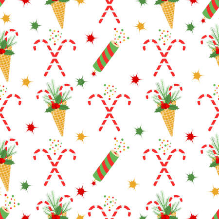 Happy New Year Merry Christmas seamless pattern Vector illustration with ice cream waffle cone, candy canes, sprig of Christmas trees, mistletoe, fireworks. Design for packaging paper, fabric, print