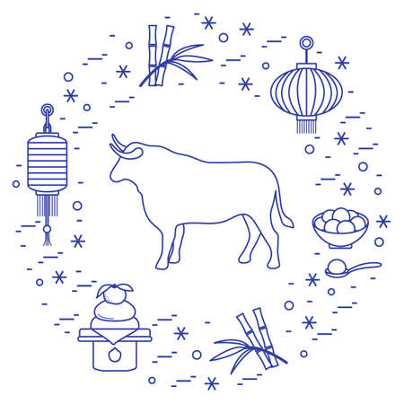Happy New Year 2021 Vector illustration bull, lanterns, traditional food, bamboo, orange. Ox zodiac sign, symbol of 2021 on Chinese calendar. Year of the bull. Chinese horoscope. Design for web, print