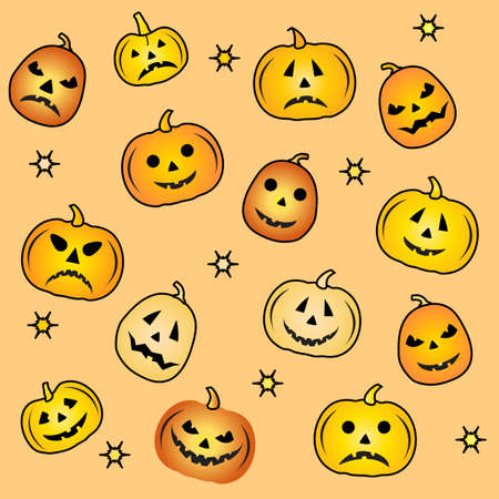 Halloween Party Vector illustration Jack O'Lantern. Cute spooky orange pumpkin with smile. Happy Halloween holiday cartoon character set. Trick or treat festive background Design for party card, print Ilustrace