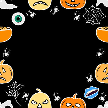 Happy Halloween Holiday Party seamless pattern Vector illustration Jack O'Lantern pumpkin, spider spider web, vampire mouth, ghost, eye, cauldron Empty space for text Trick or treat festive background