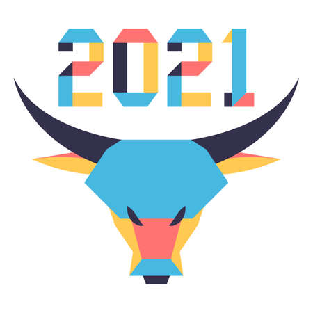 Happy new year Vector illustration with origami 2021 year numbers and bull. Bull annual animal zodiac sign, symbol of 2021 on the Chinese calendar. Year of the ox. Chinese horoscope. Design for print Ilustrace