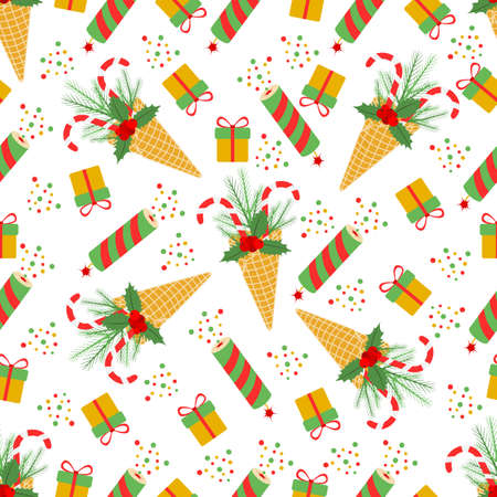 Happy New Year 2021 Merry Christmas seamless pattern Vector illustration with ice cream waffle cone, candy canes, sprig of Christmas trees, gift, mistletoe, fireworks. Design for paper, fabric, print Ilustrace