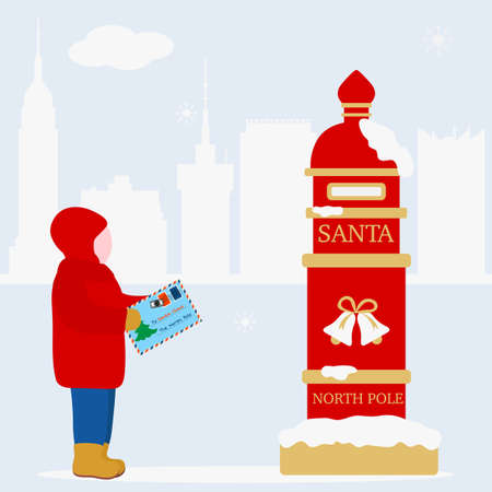 Happy New Year 2021 Merry Christmas Vector illustration. Santa's mailbox, child carries a letter to Santa Claus. Mail wish list. Design for web page, presentation, print, postcard.