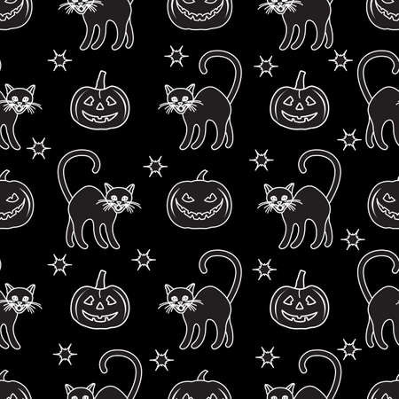 Halloween Party seamless pattern Vector illustration Jack O'Lantern, cat. Spooky pumpkin with smile, cat Happy Halloween Holiday concept Trick or treat festive background. Design for party card, print Stock Illustratie