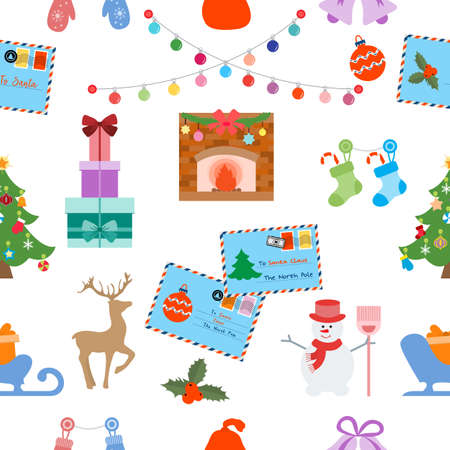 Happy New Year 2021 Merry Christmas vector seamless pattern Letters to Santa Claus, gifts, socks, light bulbs, Christmas tree, snowman, sleigh, deer, mittens, fireplace, mistletoe bells Winter holiday