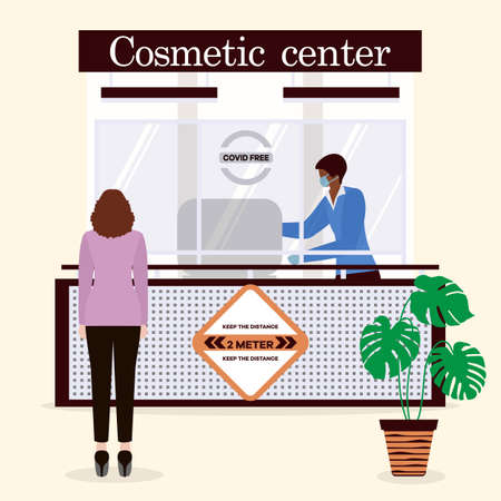 Vector illustration Cosmetic center. Reception room. Receptionist in protective medical mask and gloves behind workplace and customer. New normal. Cosmetology Health care concept Design for web, print Vettoriali