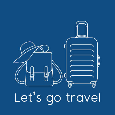 Vector illustration Suitcase, sun hat, backpack isolated on color background. Let's go travel. Summer time, vacation, holiday, leisure. Concept for travel agency. Design for web page, print