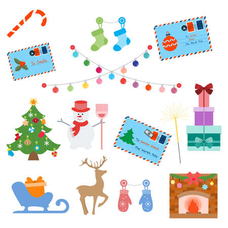 Happy New Year 2021 Merry Christmas vector illustration Letters to Santa Claus, gifts, candy cane, socks, light bulbs, Christmas tree, snowman, sleigh, deer, mittens, fireplace Winter holiday symbols