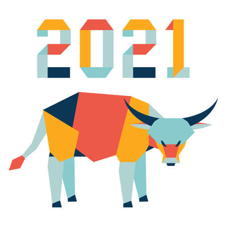 Happy new year Vector illustration with origami 2021 year numbers and bull. Bull annual animal zodiac sign, symbol of 2021 on the Chinese calendar. Year of the ox. Chinese horoscope. Design for print Stock Illustratie